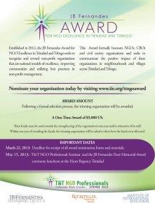 2013 JB Fernandes Award NGO Excellence Trinidad Tobago