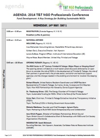 Agenda 2014 T&T NGO Professionals Conference