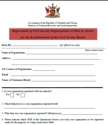 Civil Society Board Registration Form Trinidad Tobago