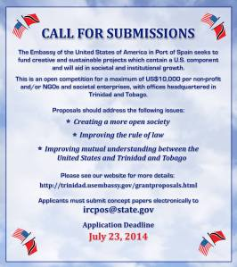 US Embassy Trinidad Tobago Grant Call for Submissions