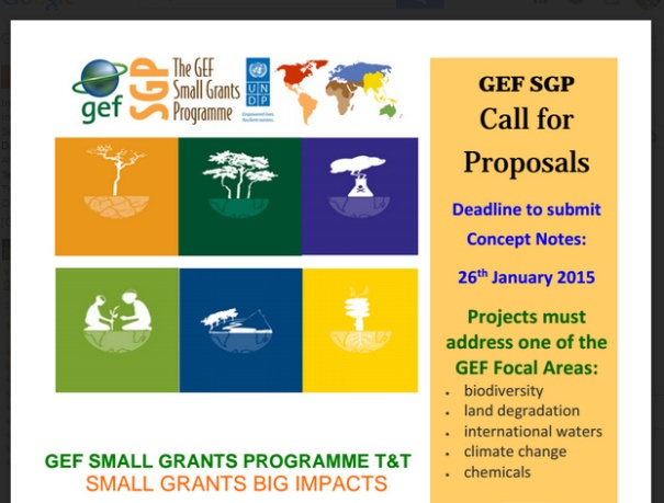 GEF Call for Proposals - NGO Trinidad Tobago.